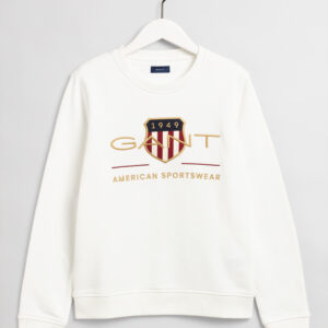 Gant, College, Archive shield c-neck sweat, Valkoinen