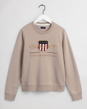 Gant, College, Archive shield c-neck sweat, Beige