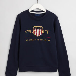 Gant, College, Archive shield c-neck sweat, Tummansininen
