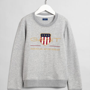 Gant, College, Archive shield c-neck sweat, Harmaa