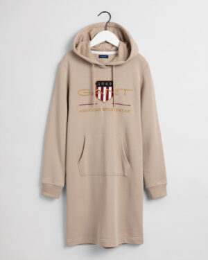 Gant, Archive shield Hoodie Dress, Beige